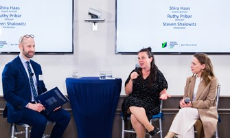 IsraelCast host Steven Shalowitz interviews Director Ruthy Pribar and Shira Haas about their new film, ASIA, at JNF-USA private event on June 10, 2021 (Photo credit A guy+A girl photography)